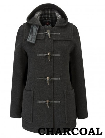 Duffle coat GLOVERALL mi-long cintré 432 FC 80% laine double face CHARCOAL