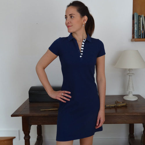 SELUNE CAP MARINE cotton dress in piqué stitch