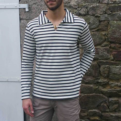 ROBIN - MOUSQUETON clothing - Striped breton shirt with smock collar