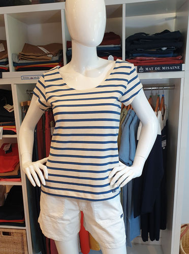 EUGENIE - LE GLAZIK - scoop neck striped breton shirt CREAM/INDIGO