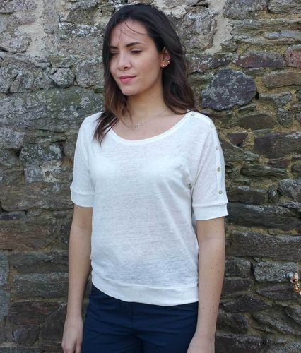 MARSA linen light weight women t-shirt CALCAIRE