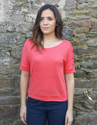 MARSA linen light weight women t-shirt MELON