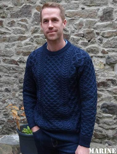 CORK LUXE NAVY genuine Irelandseye CREW-NECK IRISH SWEATER