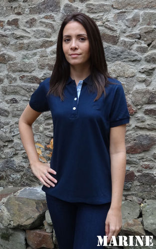 LAITA, Cap Marine fitted piqué polo shirt light cotton mix NAVY
