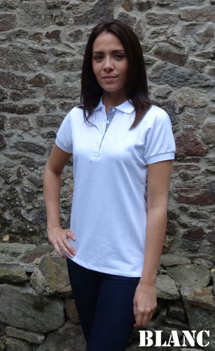 LAITA, Cap Marine fitted piqué polo shirt light cotton mix WHITE