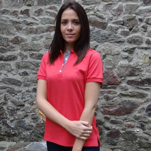 LAITA, Cap Marine fitted piqué polo shirt light cotton mix CORAIL