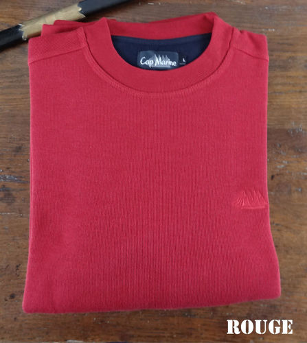 MOROS - CAP MARINE - cotton round neck sweatshirt fine stitch RED