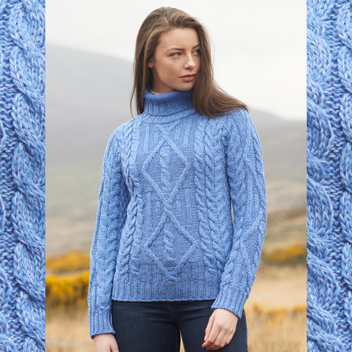 ARANCRAFR- R2080 - DONEGAL women polo neck Irish sweater