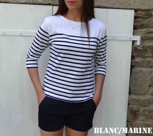 MARINA white yoke - MOUSQUETON - women breton sailor shirt WHITE/NAVY