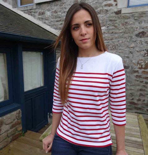 MARINA white yoke - MOUSQUETON - women breton sailor shirt WHITE/RED