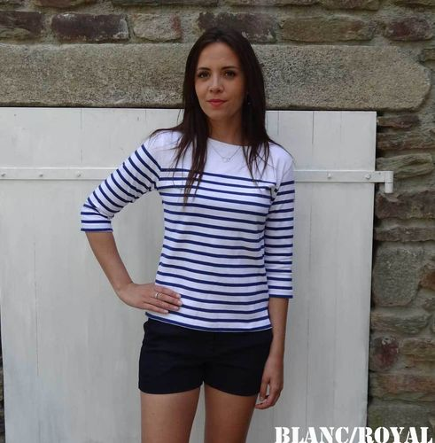 MARINA white yoke - MOUSQUETON - women breton sailor shirt BLANC/ROYAL