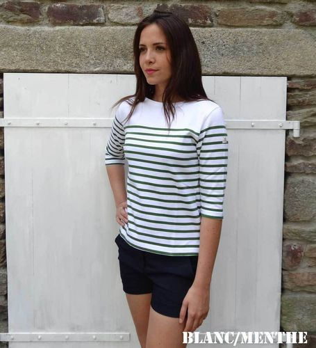 MARINA white yoke - MOUSQUETON - women breton sailor shirt BLANC/MENTHE