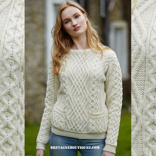 Pull Irlandais femme col rond ACLARE - ARANCRAFT C4443 - NATURAL